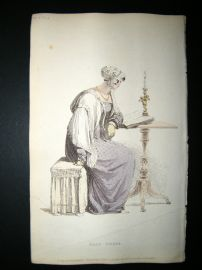 Ackermann 1813 Hand Col Regency Fashion Print. Half Dress 9-21